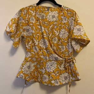 Charlotte Russe yellow floral tie wrap top
